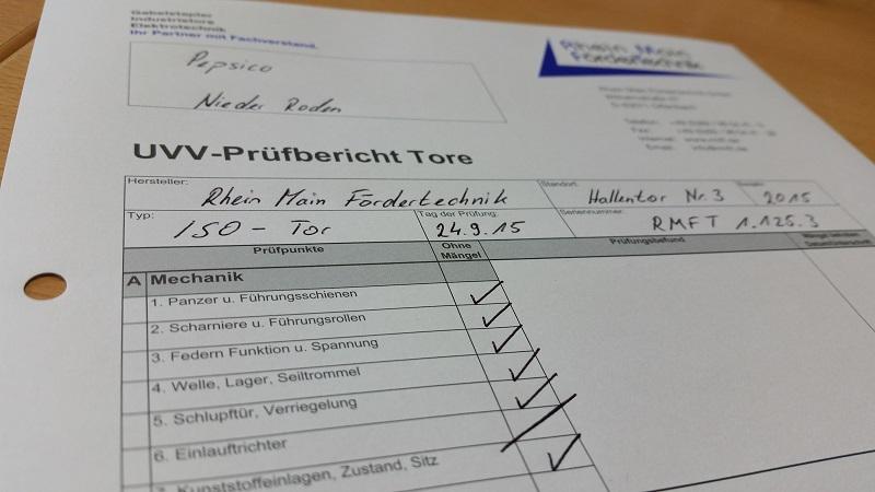 Leistungsspektrum Tore - UVV-Prüfungen