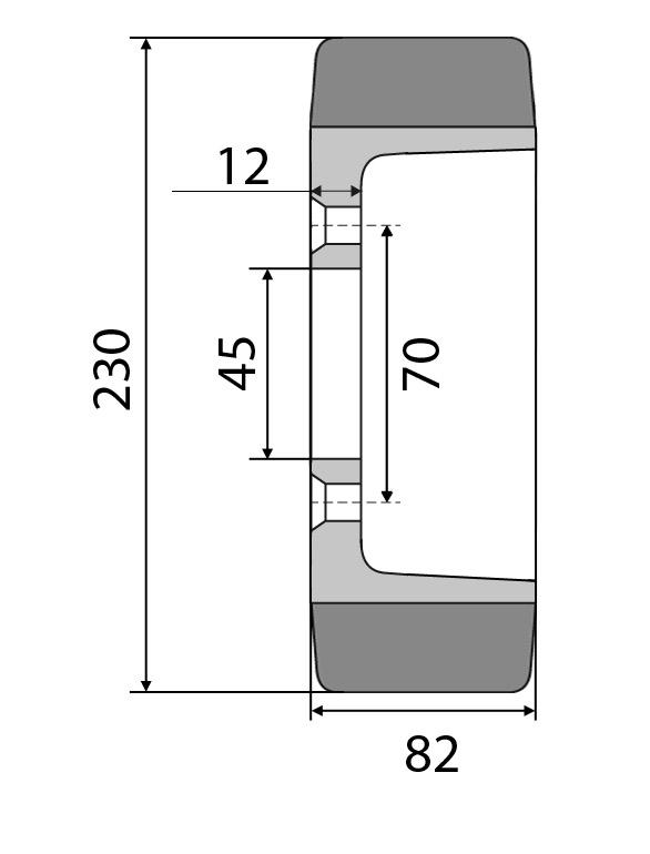 Antriebsrad 5-Loch 230/82-185 PU passend für Jungheinrich: