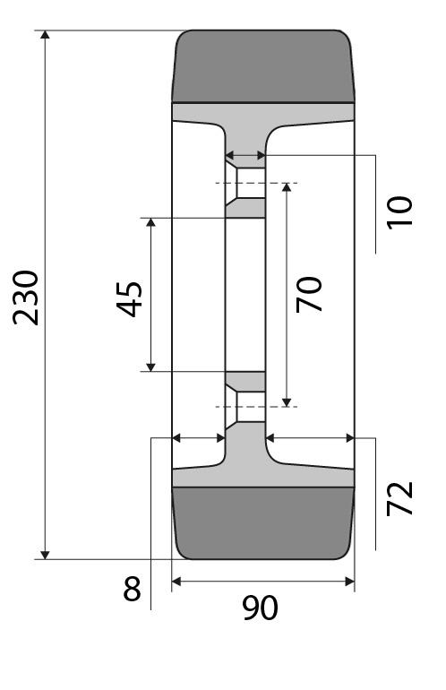 Antriebsrad 230x90 passend für Linde Nummer: 0039933800
