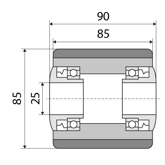 Lastrolle 85x85 passend für Jungheinrich Nummer: 50010588