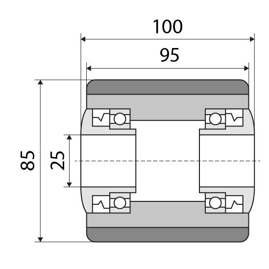 Laufrolle 85x95 passend für Jungheinrich Nummer: 27631390
